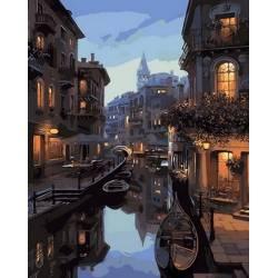 Вечерний канал Венеции, цветной холст