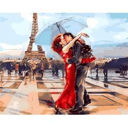 Влюбленные Парижа, цветной холст
