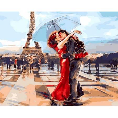 Картина по номерам «Влюбленные Парижа Babylon Premium (цветной холст)», модель NB1431