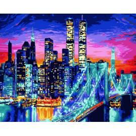 Бруклинский мост ночью, цветной холст