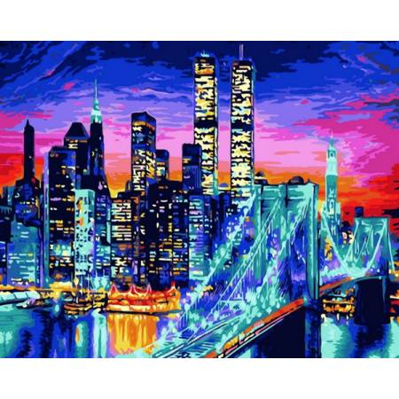 Картина по номерам «Бруклинский мост ночью Babylon Premium (цветной холст)», модель NB1434