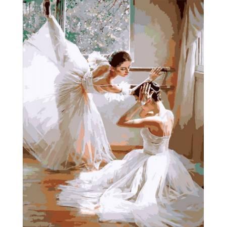 Репетиция балерин, цветной холст