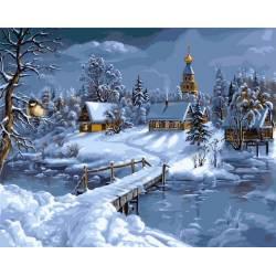 Снежна сказка, цветной холст