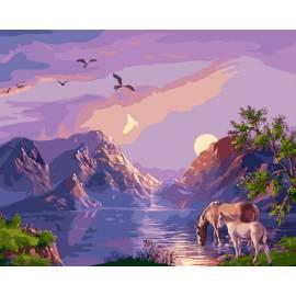 Закат в горах, цветной холст