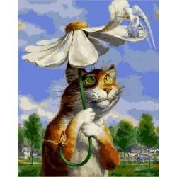 Кот под ромашкой, цветной холст