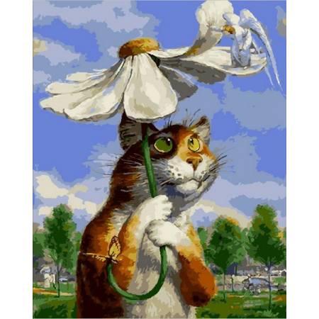 Картина по номерам «Кот под ромашкой Babylon Premium (цветной холст)», модель NB2076