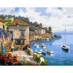 Дом на берегу океана, цветной холст