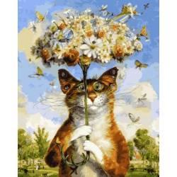 Веселый кот, цветной холст