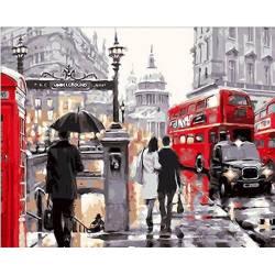 Лондонский дождь, цветной холст