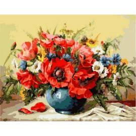 Букет маков с полевыми цветами, цветной холст