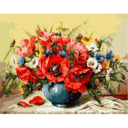 Картина по номерам Букет маков с полевыми цветами,, цветной холст NB294, Babylon Premium