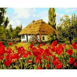 Домик в селе, цветной холст