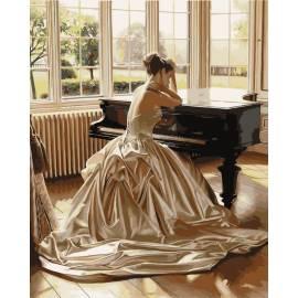 Девушка у рояля, цветной холст