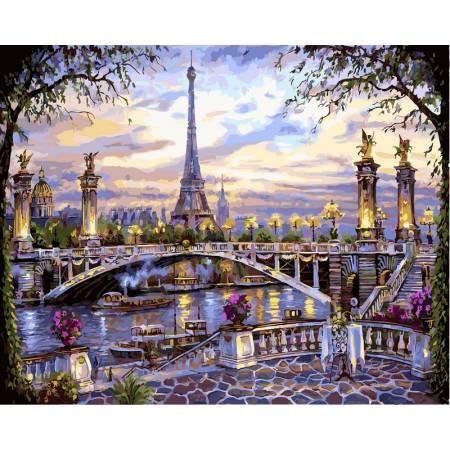 Картина по номерам «Прекрасный Париж Babylon Premium (цветной холст)», модель NB397