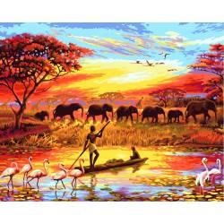 Где - то в Африке, цветной холст