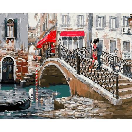 Влюбленные на мосту, цветной холст