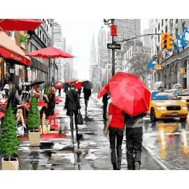 Дождь в Нью-Йорке, цветной холст