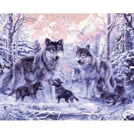 Волчья семья, цветной холст