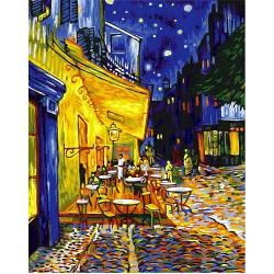 Ночная терраса кафе, цветной холст