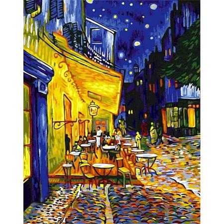 Картина по номерам «Ночная терраса кафе Babylon Premium (цветной холст)», модель NB504