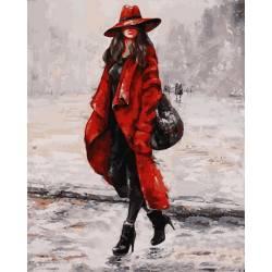 В красном пальто, цветной холст