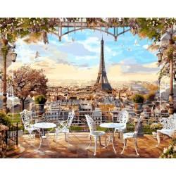 Парижское кафе, цветной холст