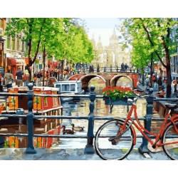 Прогулка на велосипеде, цветной холст