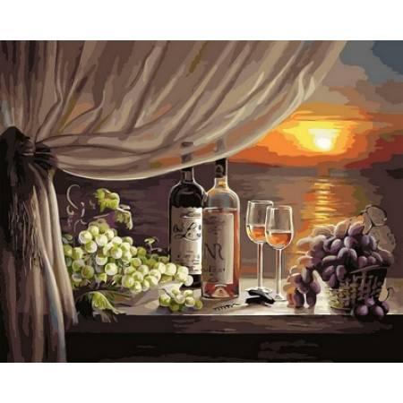 Картина по номерам Вино на закате,, цветной холст NB596R, Babylon Premium
