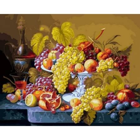 Картина по номерам Роскошный виноград,, цветной холст NB598R, Babylon Premium