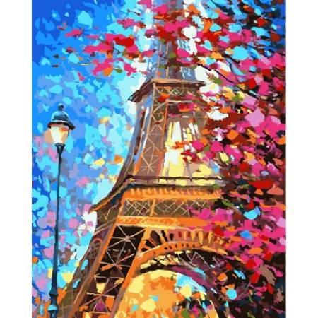 Картина по номерам «Весенний Париж Babylon Premium (цветной холст)», модель NB612