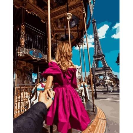 Картина по номерам «Следуй за мной Париж Babylon Premium (цветной холст)», модель NB705