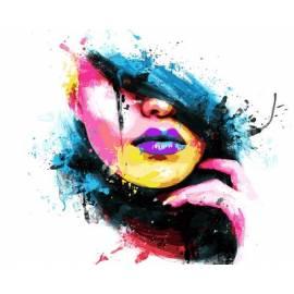 Яркая девушка, цветной холст