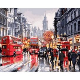 Автобусы Лондона, цветной холст
