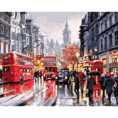 Картина по номерам Автобусы Лондона,, цветной холст NB763, Babylon Premium