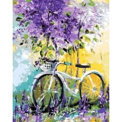 Велосипед в зарослях, цветной холст