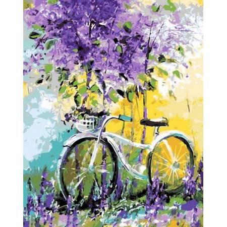 Картина по номерам «Велосипед в зарослях Babylon Premium (цветной холст)», модель NB765