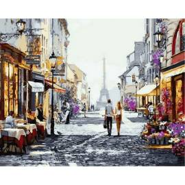 Улочки Парижа, цветной холст