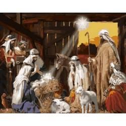Рождение Христа, цветной холст
