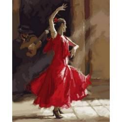 Огненный фламенко, цветной холст