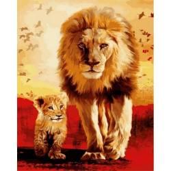Отец и сын, цветной холст