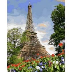 Цветы весеннего Парижа, цветной холст