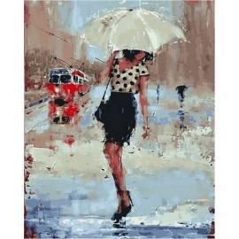 Симфония дождя, цветной холст