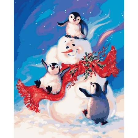 Картина по номерам «Пингвинчики и снеговик», модель Q2141