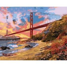 Закат над мостом Золотые ворота