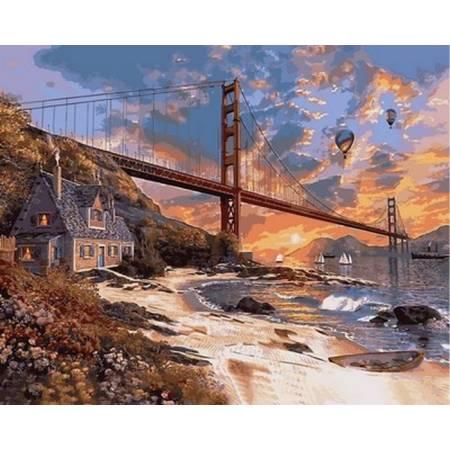 Картина по номерам «Закат над Сан-Франциско », модель VP825