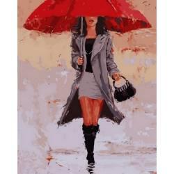 Девушка под алым зонтом