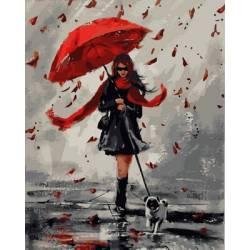 Прогулка под дождем, цветной холст