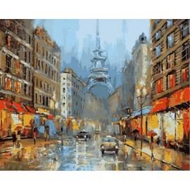 Париж в сиянии огней, цветной холст