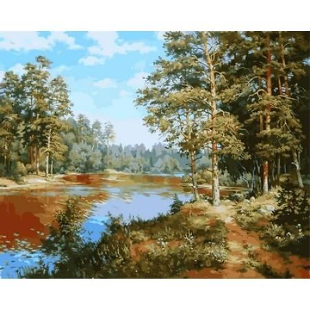 Картина по номерам «Сосновый лес», модель VP847