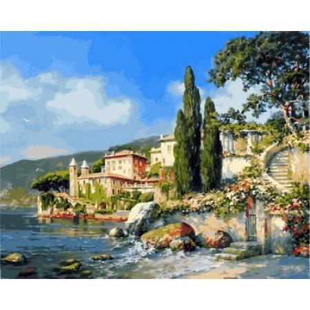 Картина по номерам Берег озера Комо,, цветной холст NB850, Babylon Premium